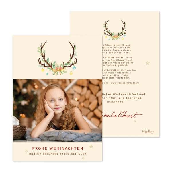 Weihnachtskarten mit Geweih, Tannenzweigen und Kugeln drucken