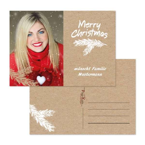 personalisierte Weihnachtsgrußkarte in Kraftkarton-Optik mit eigenem Foto