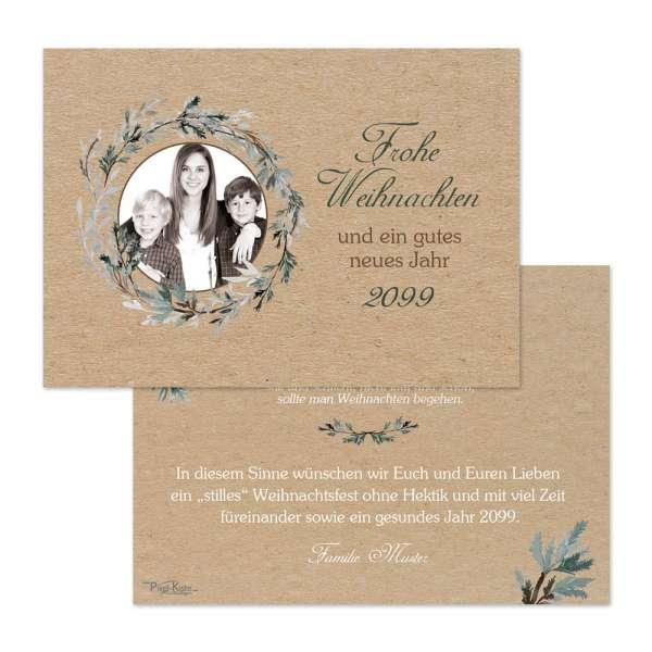 persönliche Weihnachtskarten in Kraftpapier-Optik für Gewerbe oder privat