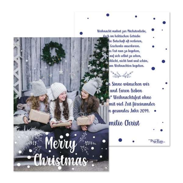 """Weihnachtskarten """"Christmas eve"""" modernes Design mit großem Foto gestalten lassen"""