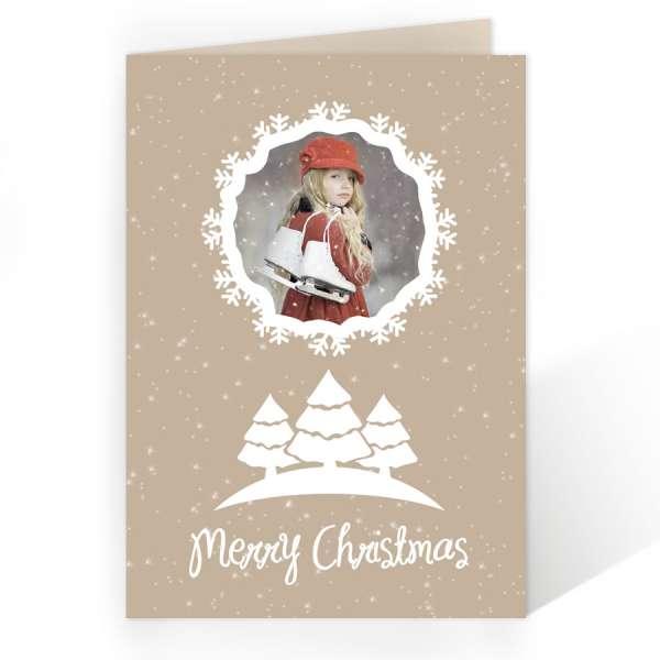 Weihnachtskarte beige weiß
