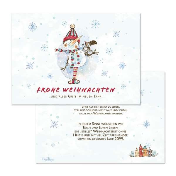 verspielte Weihnachtskarten mit lustigem Schneemann