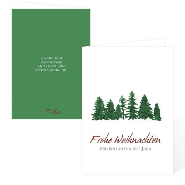 Weihnachtskarten mit Tannenbaum für Gewerbe oder Privat drucken lassen
