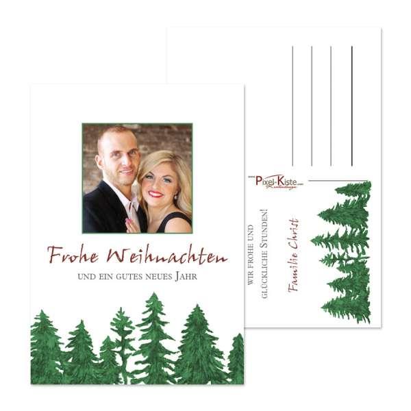 Weihnachtskarten mit Tannenbaum und Foto online drucken lassen