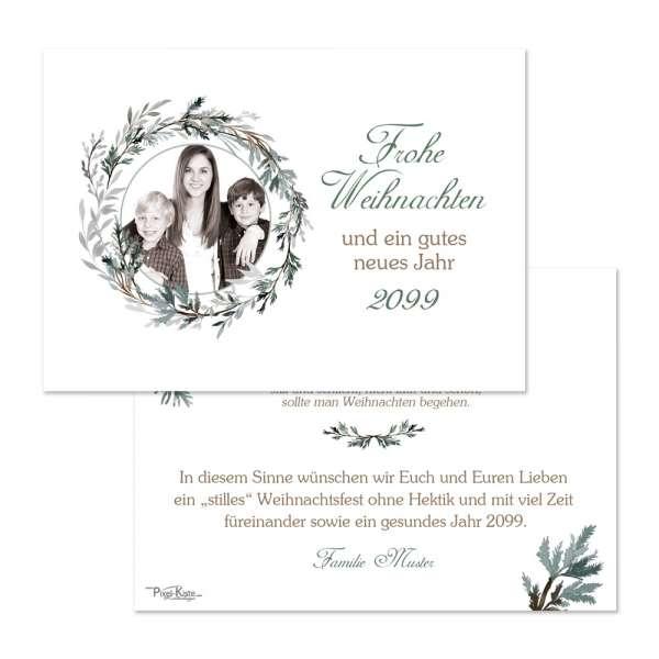 festliche Weihnachtskarten mit Foto und Tannenkranz online drucken