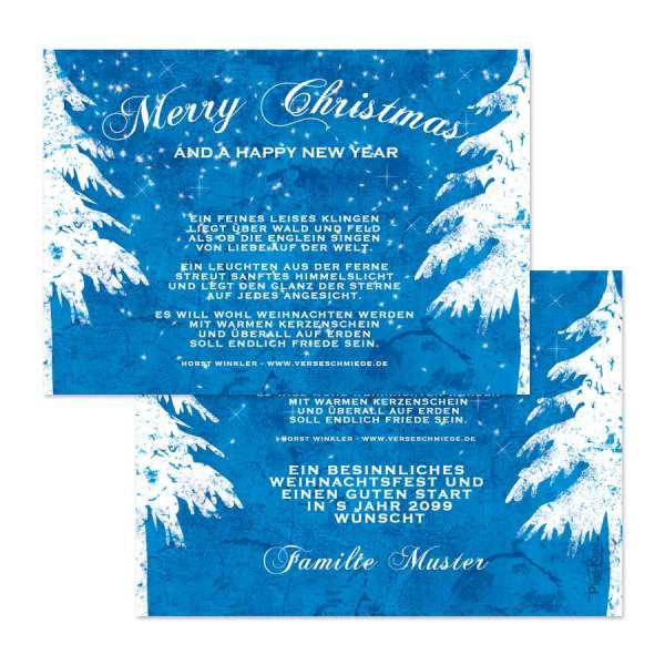 Weihnachtskarten Vintage blau Gewerbe Firmen Privat