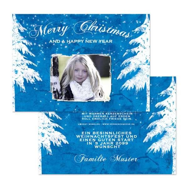 Weihnachtskarten Vintage blau mit Foto