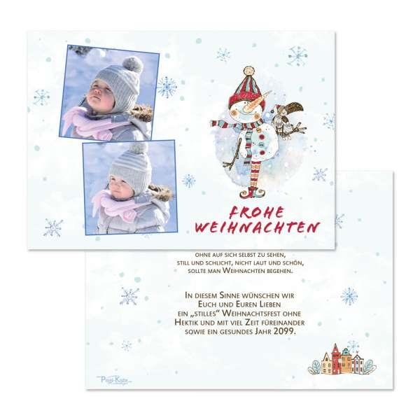 """Weihnachtspostkarten mit 2 Fotos """"lustiger Schneemann"""""""