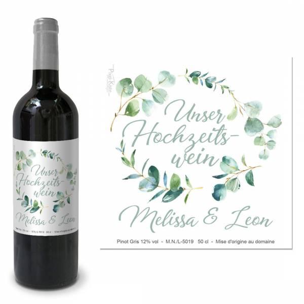 """personalisierte Flaschenetiketten für den Hochzeitswein """"Melissa & Leon"""""""
