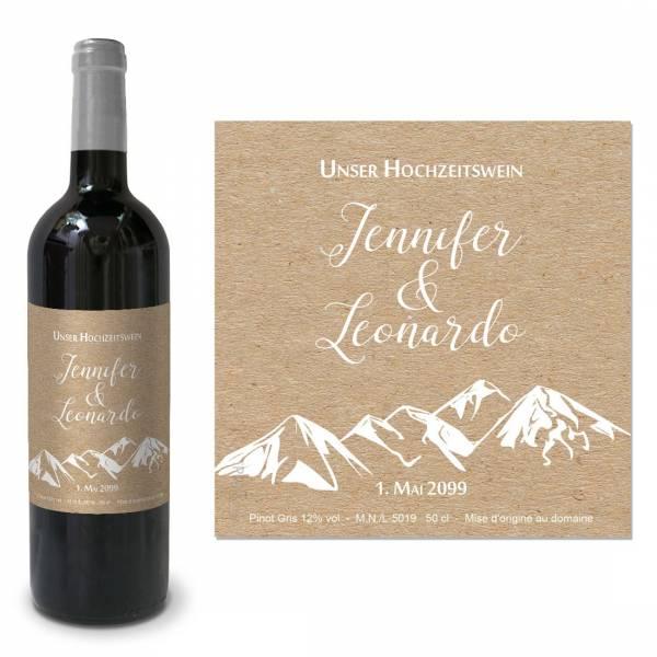 personalisierte Flaschenetikett für die Berghochzeit in Kraftkartonoptik
