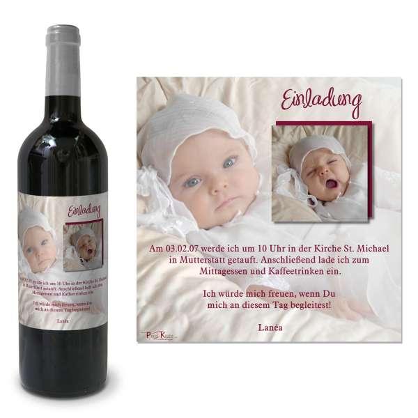 Weinetiketten als Einladung zur Taufe gedruckt