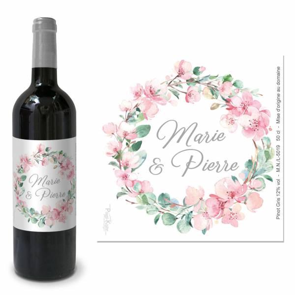 Weinetiketten Hochzeit Kirschblüten Eukalytus