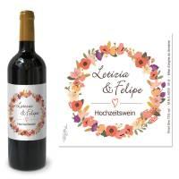 Weinetiketten Hochzeitswein mit Blütenkranz drucken