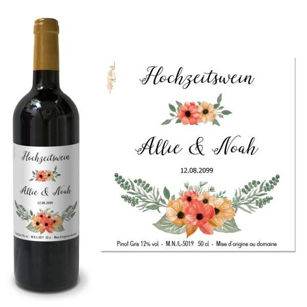 """personalisierte Weinetiketten florales Design Hochzeit """"Allie & Noah"""""""