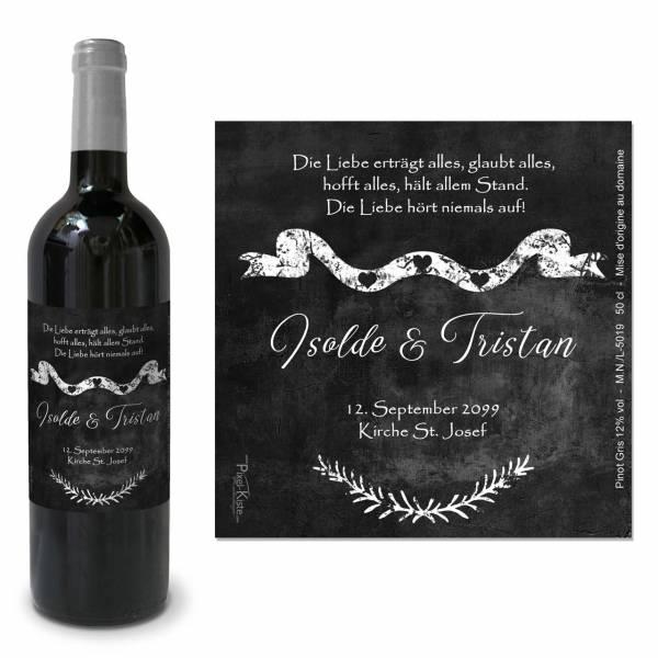 Flaschenetiketten zur Hochzeit Schiefer Chalk Tristan & Isolde