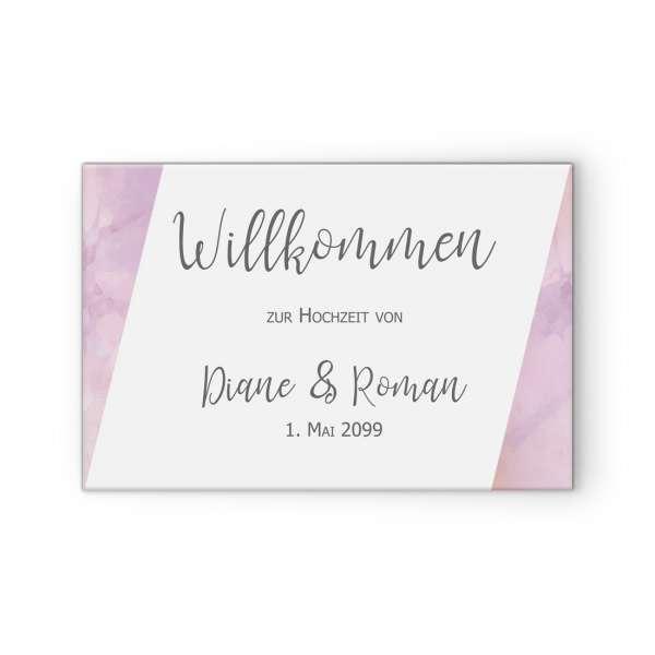 """Willkommensschild für die Hochzeit in Pastellfarben """"Diane & Roman"""""""