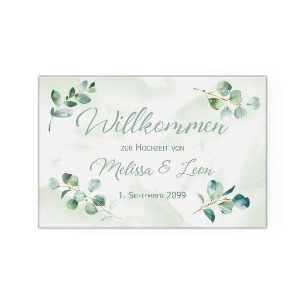 Willkommensschild Hochzeit Eukalyptus Poster Leinwand