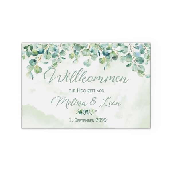 Willkommensschild Hochzeit mit Eukalyptus Leinwand Poster