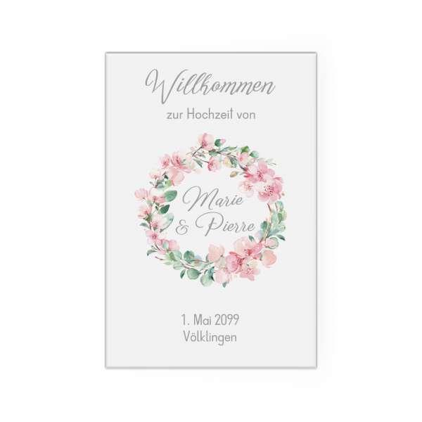 Willkommensschild Hochzeit Kirschblüten Eukalytus Leinwand Poster