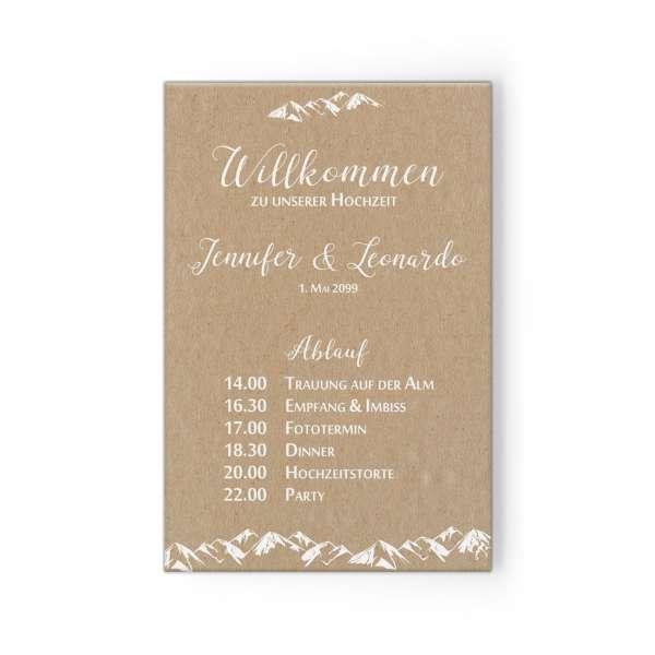 """Willkommensschild mit Tagesablauf für die Berghochzeit """"Jennifer & Leonardo"""""""