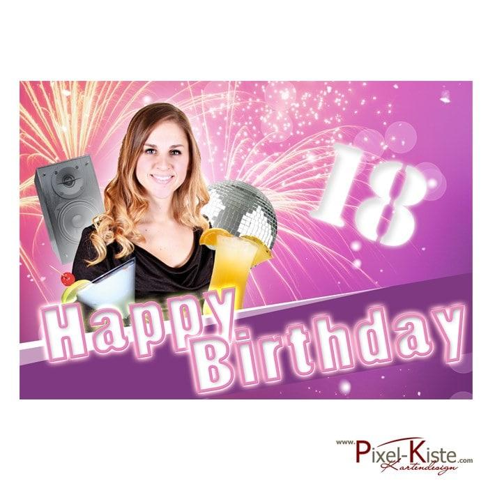 Tortenaufleger 18. Geburtstag mit Foto drucken