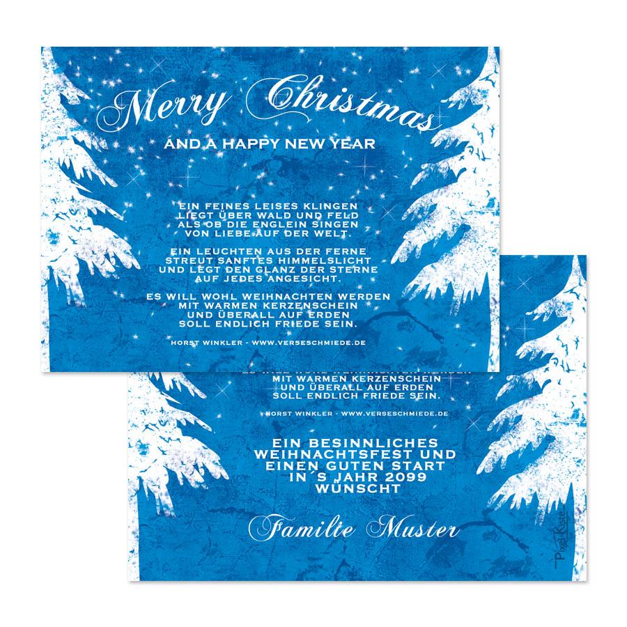 weihnachtskarten vintage blau gewerbe firmen privat. Black Bedroom Furniture Sets. Home Design Ideas